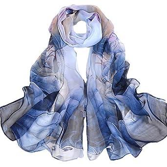 2d2ff0fdb31d ... de plage foulards cou écharpes châle Wrap écharpe en soie légère  imprimé floral pour dames fille décoration (1)  Amazon.fr  Vêtements et  accessoires