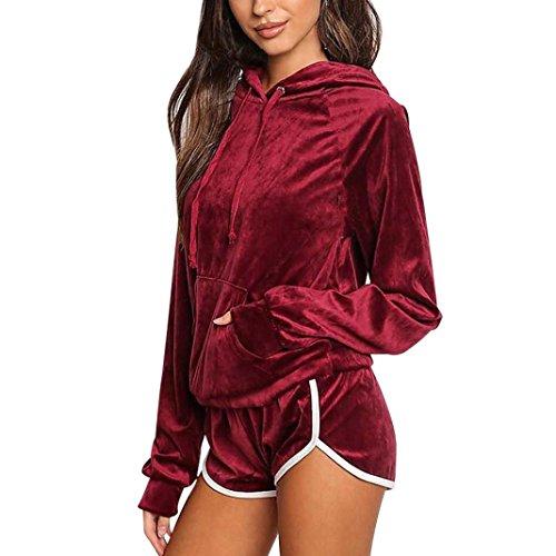 Velour Dress Tights (Lamolory Sport Suit Set For Women Velour Hoodie+Pant Tracksuit Sport Sweat Suit Set (Red, S))