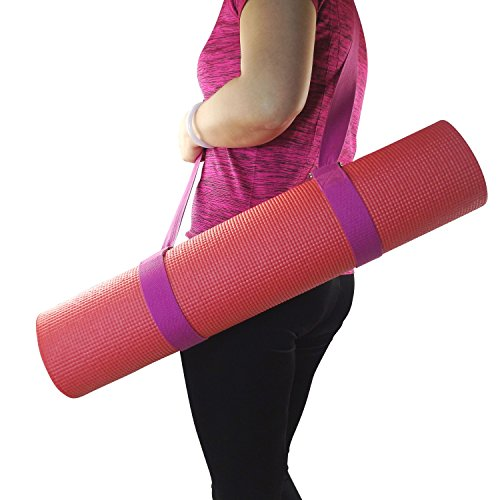 Yoga Exercise Mat Carrier Sling with 4 D-Rings Doubles as A Durable Yoga Stretching and Posing Strap - A 2-in-1 Extra Value Combination by Wisdompro - Hotpink