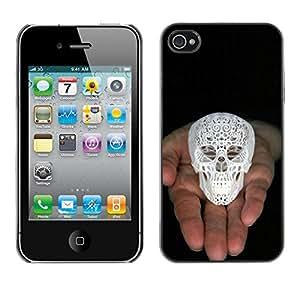 Paccase / SLIM PC / Aliminium Casa Carcasa Funda Case Cover - 3D Printed Skull White Love God Black - Apple Iphone 4 / 4S