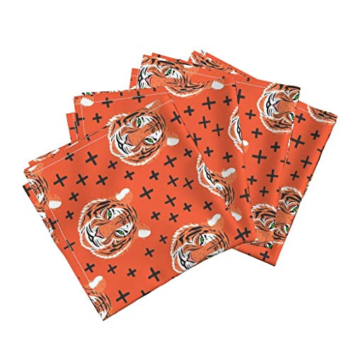 Roostery Orange Tiger Organic Sateen Dinner Napkins Orange Tiger Nursery Decor Tiger Big Cat Kitty Plus Sign Jungle Abstract Animal Nursery Decor by Vo Aka Virginiao Set of 4 Dinner Napkins