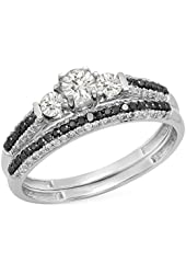 10K White Gold Round White Sapphire, Black & White Diamond Ladies 3 Stone Bridal Engagement Ring Set
