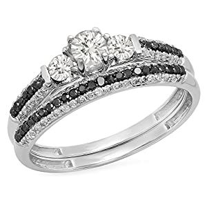 10K White Gold White Sapphire, Black & White Diamond 3 Stone Bridal Engagement Ring Set (Size 6)