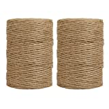 Tenn Well 600 Feet 6Ply Natural Jute Twine For Gift Wrapping, DIY Crafts, Gardening (2pcs x 300 Feet)