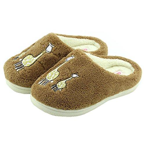 JadeRich Unisex Giraffe Pattern Soft Plush Warm Indoor Slippers -