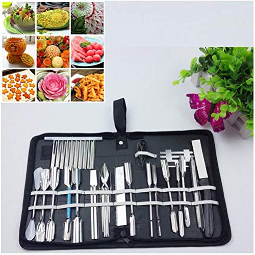 25pcs/Set Vegetable Fruit Food Carving Tools Set Engraving Chef Knives Kit with Case -