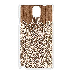 Hand Drawn Mandala Pattern on Wood Grain Texture White Hard Plastic Case for Galaxy Note 3 by UltraCases + FREE Crystal Clear Screen Protector