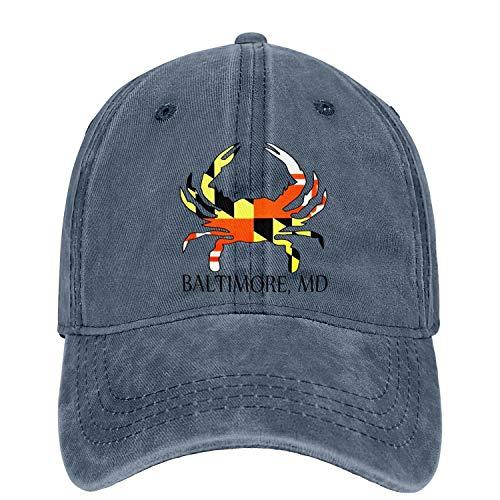 Baltimore Maryland Flag Crab Adjustable Baseball Cap Strapback Vintage Washed Jeans Dad Hat Athletic Trucker Hat Unisex