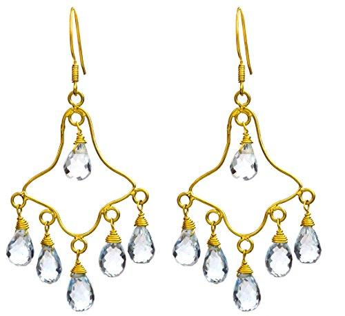 Faceted Blue Topaz Chandelier Earrings - 18 K Gold -