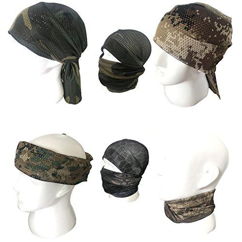 QMFIVE Écharpe tactique camouflage, hommes et femmes unisexe multi-usages bandeau militaire style tête wrap face mesh… 7