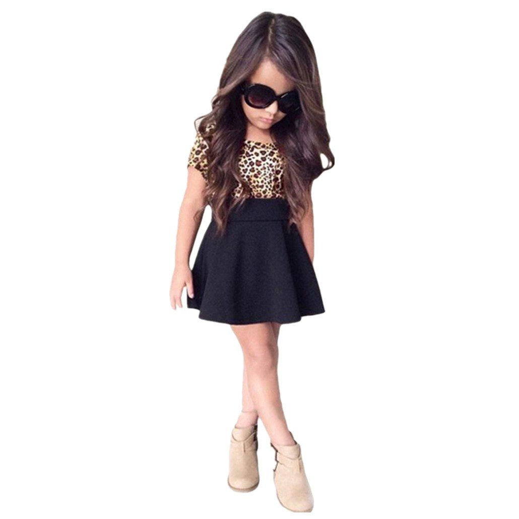 Clode for 2-7 Years Old 2016 Fashion Kids Girls Kids Baby Girls Leopard Printing Short Sleeveless Dress Summer Clothes