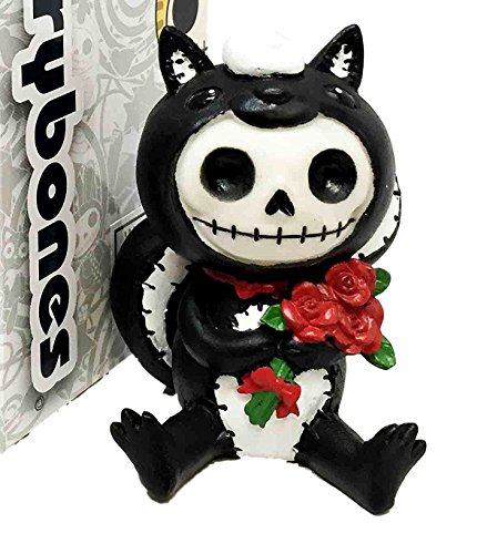 Ebros Furry Bones Adorable Valentine Skunk Carrying Red Roses Skeleton Monster Figurine Odo Furrybones Rodent Costume Hooded Skull Monster Collectible Sculpture Decorative Toy -
