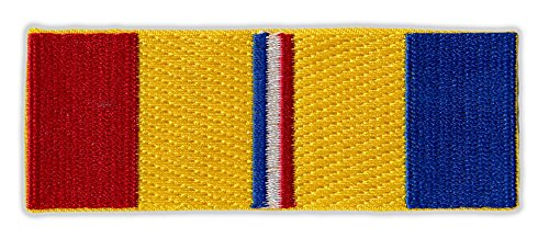 Motorcycle Jacket Embroidered Patch - Combat Veteran Service Ribbon Bar - Vest, Cut, Leathers - 3.5