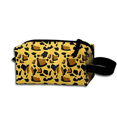 LINSHAN Cartoon Leopard Print Receive Bag Fashion Practical Cosmetic Bag Zipper Hand Printed Bag