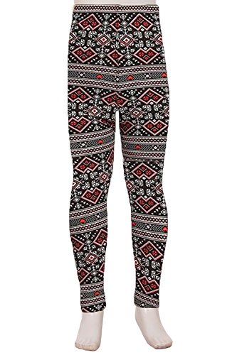 Fair Isle Heart (Kid's Popular Butterknit Ultra Soft High Waist Printed Leggings (Medium, Fair Isle Hearts))