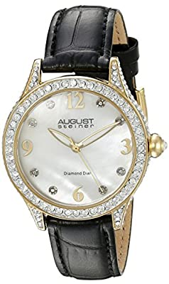 August Steiner Women's AS8188BKG Yellow Gold Crystal Accented Quartz Watch with White Mother of Pearl Dial and Black Embossed Leather Bracelet