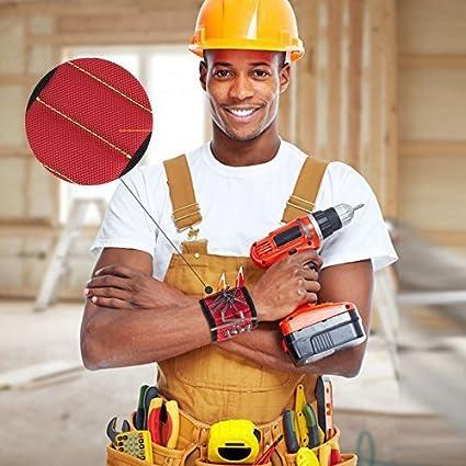 clavos mujeres hombres Azul Wristband magn/ético con los imanes fuertes para los tornillos de la explotaci/ón agr/ícola el mejor regalo de la herramienta para DIY Handyman pedacitos de taladro