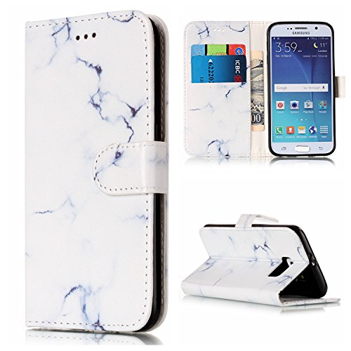 Samsung Galaxy S6 Case, AS-Zeke Case Stand Wallet Purse Credit Card ID Holders Magnetic Closure Design Ultra Slim Fit Flip Folio Cover for Samsung Galaxy S6 - White Marble