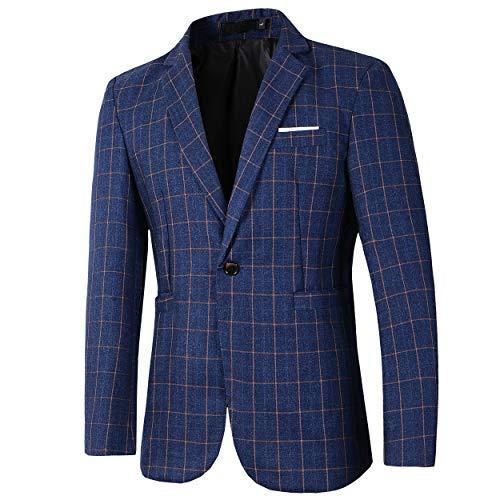 Beninos Mens Casual One Button Slim Fit Plaid Blazer Jacket (771 Blue, XL) ()