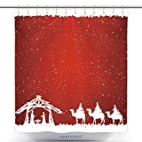 Custom Shower Curtains Christian Christmas Scene On Red Background Illustration 324278123 Polyester Bathroom Shower Curtain Set With Hooks