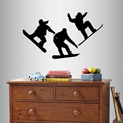 Wall Vinyl Decal Home Decor Art Sticker Silhouette Snowboarding Guy Boy Man Snowboard Mountain Winter Extreme Sports Team Teenager Guy Room Removable Stylish Mural Unique Design For Any Room Creative Design Logo House