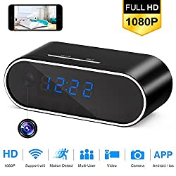 Wifi Hidden Camera Alarm Mini Spy Camera Clock 1080P HD Night Vision Wireless Remote Security Monitoring Motion Detection Video Recorder Nanny Cam