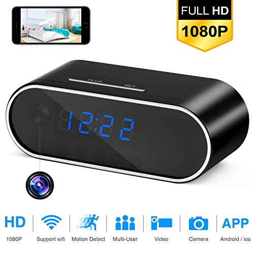 WiFi Hidden Camera Alarm Mini Spy Camera Clock 1080P HD Night Vision Wireless Remote Security Monitoring Motion Detection Video Recorder Nanny Cam