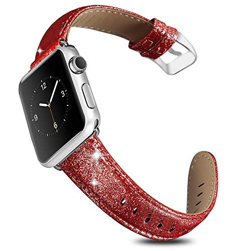 UMAXGET Compatible Apple Watch Band 38/40MM, Genuine Leather Bling Wristband Shiny Strap for Apple Watch Series 4/3/2/1, Iwatch Shiny Red