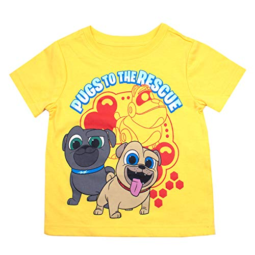 Puppy Dog Pals Disney's T-Shirt Tee - Featuring Bingo, Rolly, Bob, Hissy and A.R.F (Yellow, 3T)