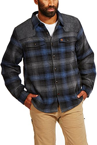 Suede Shirt Jacket (Coleman Sherpa-Lined Flannel Shirt Jacket With Faux Suede Shoulder Patches (XX Large, Charcoal Navy))