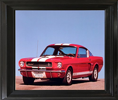 (Impact Posters Gallery 1966 Red Ford Shelby Gt 350 Mustang Vintage Car Black Framed Picture Art Print )