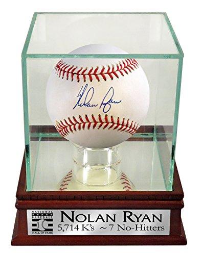 "Nolan Ryan Autographed Official MLB Baseball w/ Case & Custom HOF ""5,714 K's – 7 No-Hitters"" Plate (COA)"