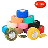 Self Adherent Cohesive Wrap Bandages, Elastic First Aid Stick Wrap Athletic Tape (1, 2 Inches) X 5 Yards, Rainbow Color (Pack of 12, 6) for Wrist and Ankle Sprain Swelling and Soreness (1inch × 12)