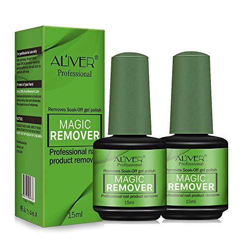 2Pcs Magic Nail Polish Remover, Easily & Quickly Removes Soak-Off Gel Polish, Don't Hurt Nails, Professional Non-Irritating Nail Polish Remover-15ml