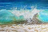 Tropical Splash - Crashing Wave Art - Wave Print on Canvas, Metal or Paper - Aqua Turquoise Wall Art Decor - Coastal Interior Design Ideas - Beach Decor for Bathroom, Bedroom, Living, Room, Office