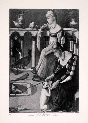 [1907 Print Vittore Carpaccio Courtesans Dog Peacock Costume Renaissance Venetian - Original Halftone Print] (Renaissance Courtesan Costume)