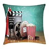 Queen Area Movie Theater Production Theme 3D Film Reels Clapperboard Tickets Popcorn and Megaphone Square Throw Pillow Covers Cushion Case for Sofa Bedroom Car 18x18 Inch, Multicolor