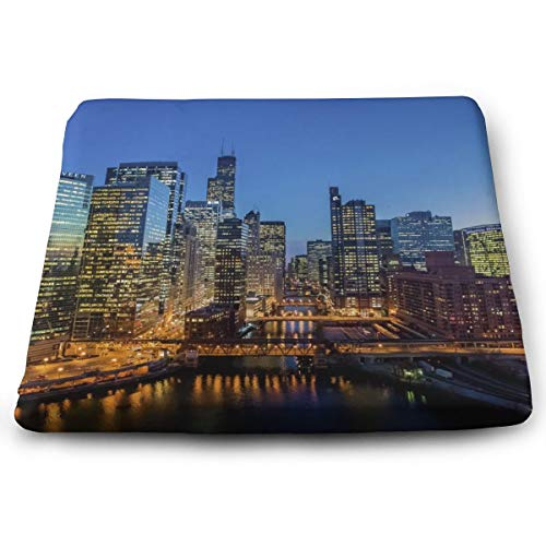USA Chicago Skyline Night View Seat Cushion Memory Foam Cushion for Outdoor Patio Furniture Garden Home Office, Square Ergonomic Sit Cushion for Lower Back Tailbone Coccyx Hips