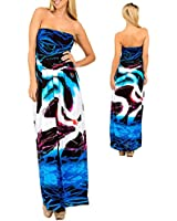 Body Skimming Strapless Smocked Blue Pink Black White Abstract Maxi Dress