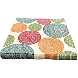 Cocktail Paper Napkins,Cream With Colors Flowers Pattern,2-Ply,Disposable Paper Beverage Napkins For Bars,Anniversary party,Dinner,Lunch,Folded 6.5x6.5 Inches,Pack Of 100