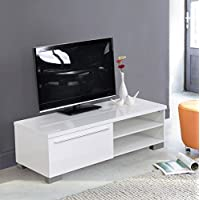 Homycasa White Home Ofice TV Stand Table with Drawer