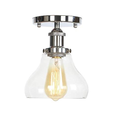 Dsti Lámpara de Techo Edison de Vidrio Transparente E27 ...