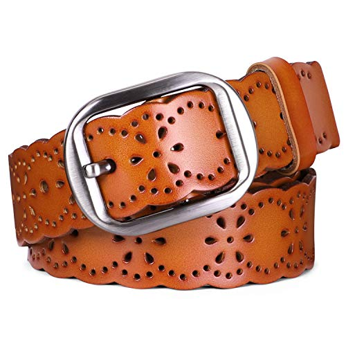 JASGOOD Women's Hollow Flower Genuine Cowhide Leather Belt With Alloy Buckle ()
