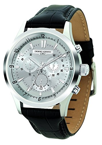 Jorg Gray | Silver Stainless Steel Watch w/Black Leather Band | JG6800-21 | Silver Dial (Jorg Gray Watch)