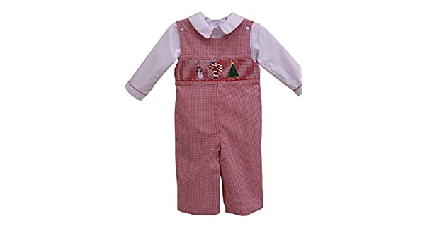 0f9e2cfc7 Amazon.com: Carouselwear Baby Boy Smocked Patriotic Santa Longall Outfit in  Red Checks: Clothing