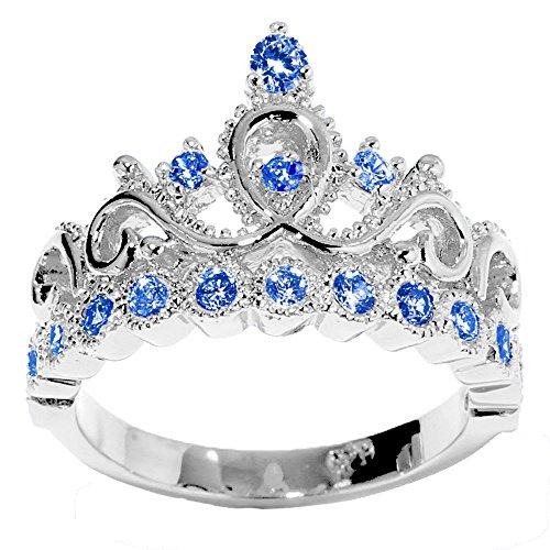 14K White Gold Princess Crown CZ Sapphire Ring (September)
