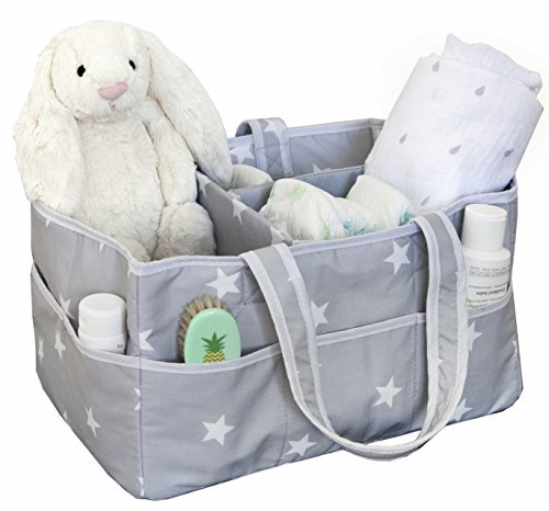 Large Diaper Caddy Organizer, Fits All Diaper Sizes, Nursery Storage Bin, Nursery Diaper and Wipes Organizer Lovefunbox DIA-STAR
