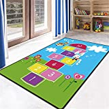 Educational Kids Area Rug, Alphabet ABC Numbers Animals Large Carpet, Non-Skid Vibrant Children Theme Playmat, for Boy Girl Playroom Bedroom Nursery Study Living Room (Sleeping Rabbit, 2'7''x3'11'')