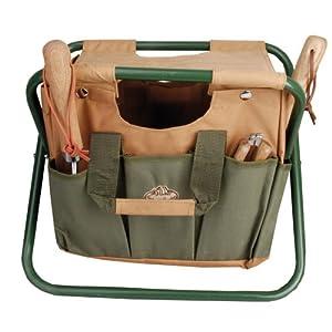 Esschert Design GT01 41 x 31 x 30cm Metal/ Textile Garden Stool – Green