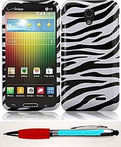 Accessory Factory(TM) Bundle (the item, 2in1 Stylus Point Pen) For LG Lucid 3 VS876 Design Cover Case - Zebra cas protecteur de couverture